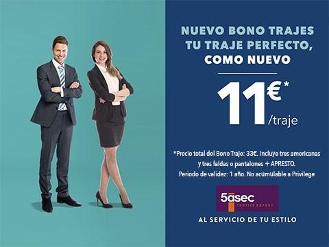 Nuevo bono trajes 11€* / traje